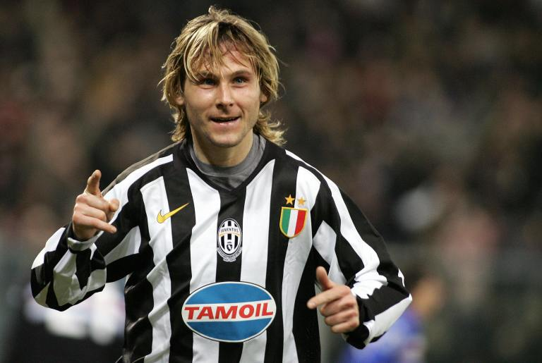 Juventus' midfielder Pavel Nedved celebr